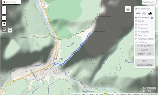 Strecke erstellen in GPSies