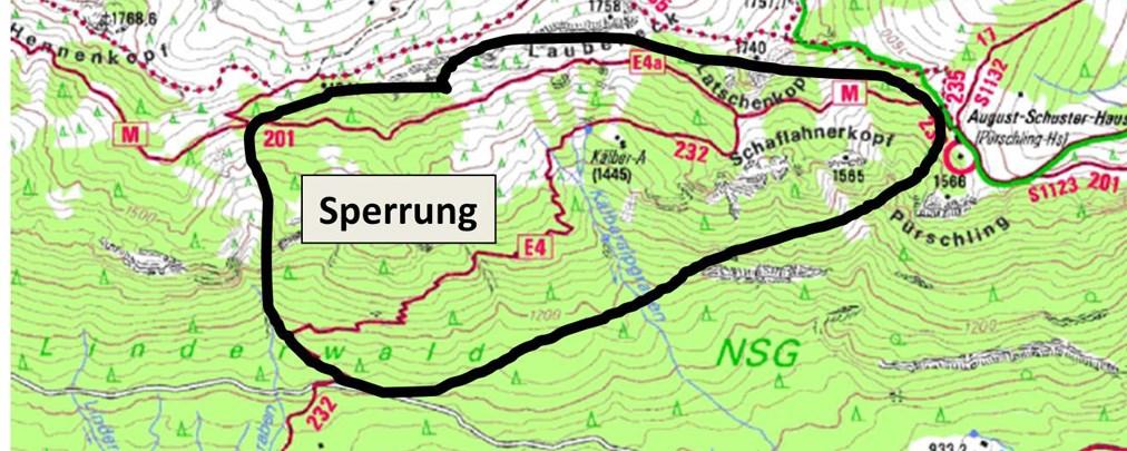 Felssturzgefahr: Wegsperrung am Brunnenkopf