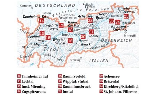 Karte Tirol Skigebiete