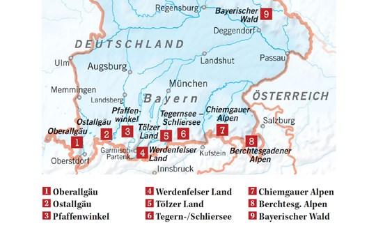 Karte Skigebiete Bayern