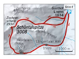 Übersichtskarte, Schöntalspitze, Löngentaler Alm, Westfalenhaus, Zischgenscharte