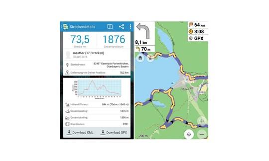 GPSies, OSMAnd, Navigations, App, Smartphone, GPS