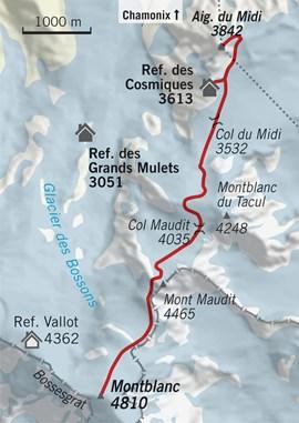 Übersichtskarte Montblanc