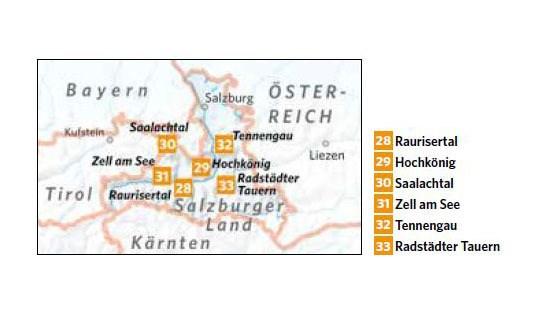 Karte Skigebiete Salzburger Land
