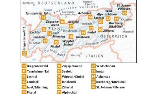 Karte Skigebiete Tirol