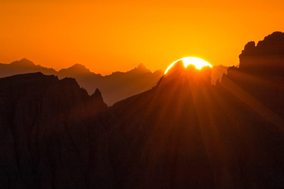 Sonnenuntergang hinterm Langkofelmassiv