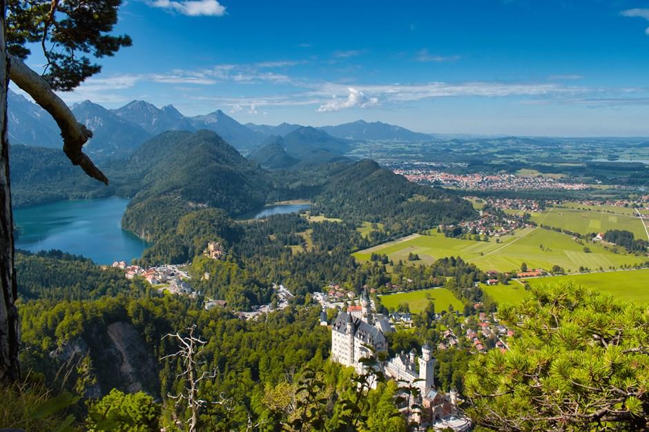 Blick auf die Königsschlösser in Schwangau im Allgäu