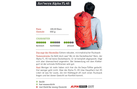 Produkttest Alpinrucksäcke