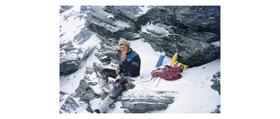 1974 - Brotzeit kurz vor dem Gipfel des Großen Moosstocks