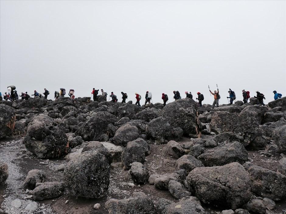 """Die Karawane zieht weiter:""""Stau"""" an der Zusammenkunft von Lemosho- und Machame-Route."""