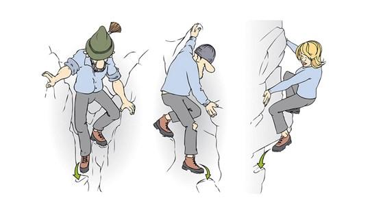 """Die verschiedenen Arten des Abkletterns: Man sollte in ungefährlichem Gelände üben, um dann im """"Ernstfall"""" alles anwenden zu können."""