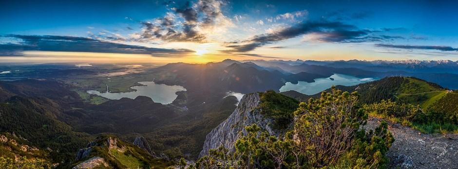 Sonnenaufgang über dem Kochel und Walchensee