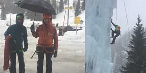 Mit Schirm und Schnorchel zum Eisklettern