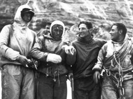 Die Erstbesteiger der Eiger Nordwand: Heinrich Harrer, Ludwig Vörg, Andreas Heckmair und Fritz Kasparek (v.l.n.r.)