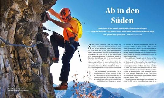 Die Aufmacher-Seite zur Klettersteig-Reportage in ALPIN 03/2018.