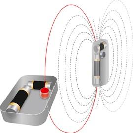 Moderne 3-Antennen-LVS-Geräte haben eine Antenne in jede Richtung.Bauartbedingt ist eine Antenne deutlich kürzer als die zwei anderen.
