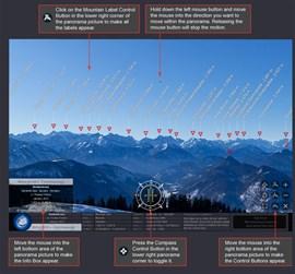 Features en masse: Bewegen im Bild, Zoom, Kompass, Gipfelbeschriftungen, Vollbildmodus und automatisches Drehen..