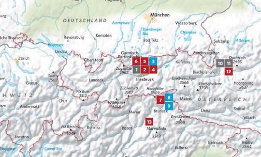 Die Lage der in ALPIN 10/2018 vorgestellten Touren.