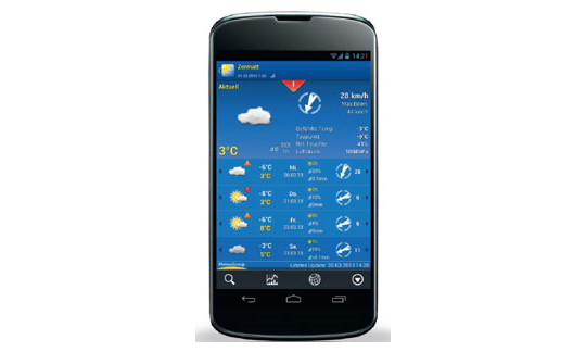 Die Smartphone-App WeatherPro kostet je nach Handy-Modell drei bis vier Euro.