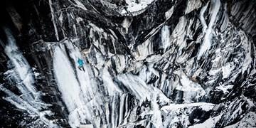 Profi-Kletterer Simon Gietl bei der Erstbegehung