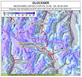 Punktgenau: MetGIS-Neuschneeprognose für den Großglockner (Screenshot: metgis.com).