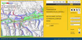 Prognose der Niederschlagsart (Regen, Eisregen, Schneeregen oder Schnee) für die Region um Schladming/Dachstein (Screenshot: metgis.com).