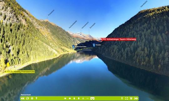 """Auf dem""""Schladminger Tauern Höhenweg"""" kommt ihr unter anderem am Riesachsee vorbei. Hier ein Einblick in die 360-Grad-Ansicht."""