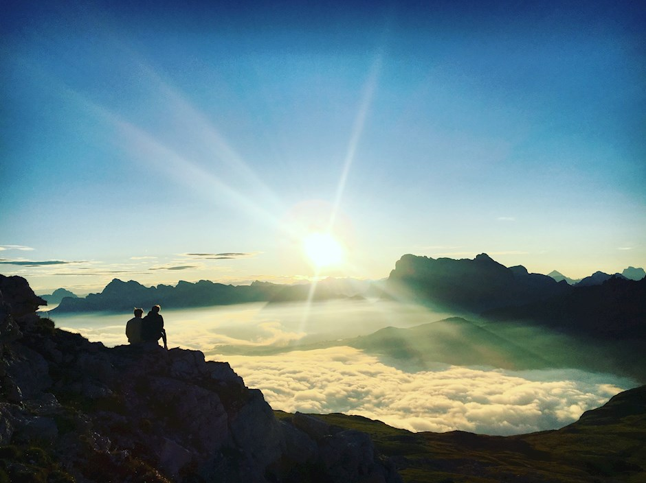 Frühmorgens in den Dolomiten