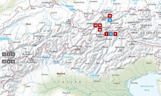 Die Lage der in ALPIN 03/2020 vorgestellten Touren.