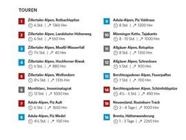 Diese 16 Tourenkarten findet Ihr in ALPIN 03/2020.