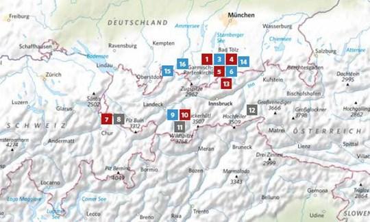 Die Lage der in ALPIN 04/2020 vorgestellten Touren.