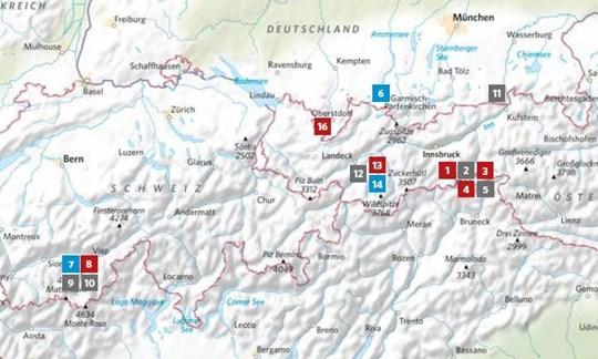 Die Lage der in ALPIN 07/2020 vorgestellten Touren.