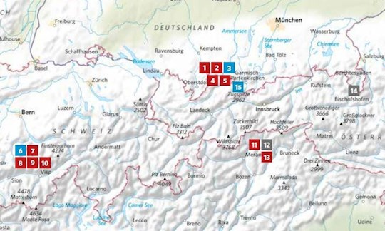 Die Lage der in ALPIN 08/2020 vorgestellten Touren.
