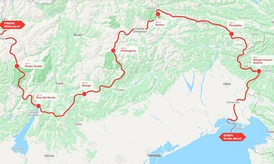 Der ursprüngliche Routenverlauf des AlpFrontTrails.