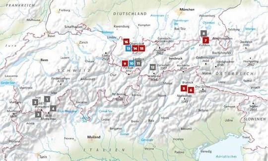 Die Lage der in ALPIN11/2020vorgestellten Touren.