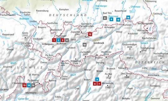 Die Lage der in ALPIN12/2020vorgestellten Touren.
