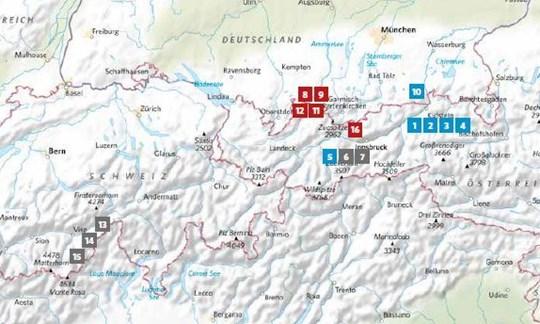 Die Lage der in ALPIN 01/2021 vorgestellten Touren.