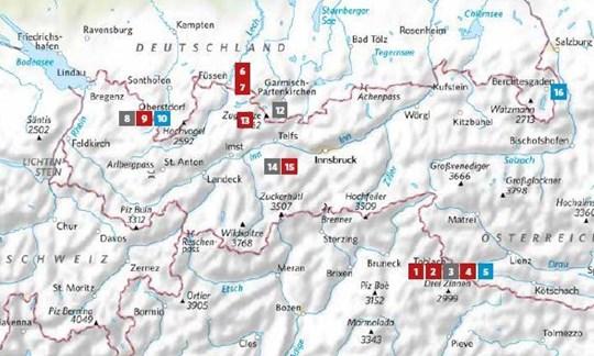 Die Lage der in ALPIN 2/2021 vorgestellten Touren.