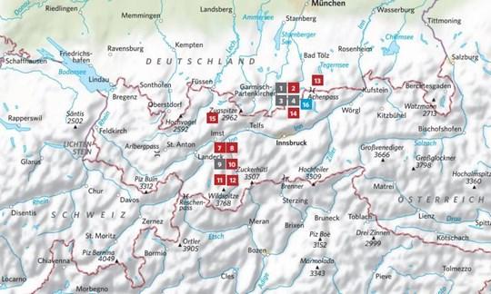 Die Lage der in ALPIN 3/2021 vorgestellten Touren.